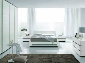 solid white wooden queen bed + 2 bedside table + chest drawers Campsie Canterbury Area Preview