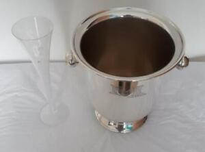 Silver Plated Ice Bucket &Champagne Glass-Millennium(2000) Good