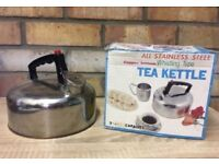 ALL STAINLESS STEEL COPPER BOTTOM TEA KETTLE WHISTLING TYPE BOXED PROP/DISPLAY