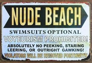 8 x 12 inches- Nude Beach Metal Wall Sign