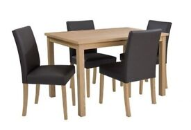 Primo 120 cm Dining Table + 4 Faux Leather Chairs