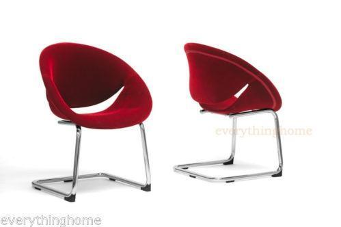 Modern dining chairs red ebay for Red modern dining chairs