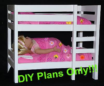 "Easy Build Bunk Bed designed for 18"" Doll (American Girl or Maplelea) DIY Plan on Rummage"