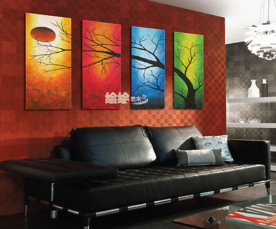 NEW 4PC MODERN ABSTRACT HUGE ART OIL PAINTING ON CANVAS tree (No frame) on Rummage