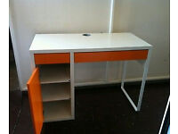 IKEA Micke desk orange and white