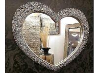 Small Heart Mirror Chrome BRAND NEW