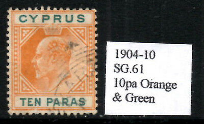 (Ref-7958) Cyprus 1904-10 Edward VII  10pa Orange & Green  SG.61  Used