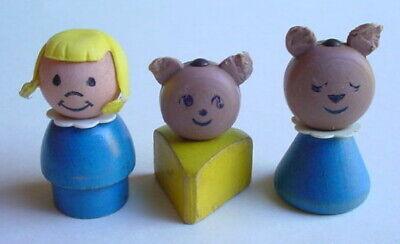 Vintage 1967 Wooden Fisher Price #151 Little People Goldilocks & Three Bears lot