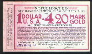 LUDWIGSHAFEN-GERMANY-UNC-NOTGELD-1923-DENOMINATED-4-20-GOLD-MARK-1-USA-DOLLAR
