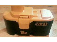 Ryobi one plus range 18-volt battery ex display in good condition