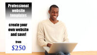 Professional website templates, create your own website and save