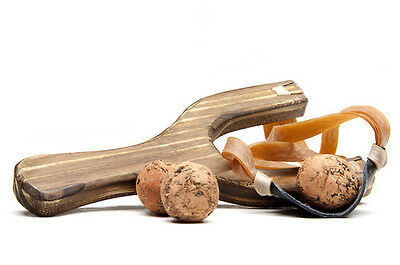 Wooden Pine Wood Old Style Slingshot with Black Leather Launcher