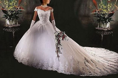 New White Wedding Dress Bridal Gown Custom Size  6 8 10 12 14 16