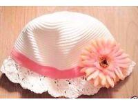 Child Girl's Cream Cloche Hat with Coral Orange Flower.Age 2-3 Years.