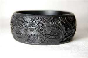 Cinnabar Bracelet Black Dragon Phoenix Feng Shui Carved Resin Bangle Chinese