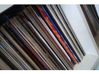 box full of old vinyl 12 inch records house rap pop chart