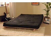 NEW Double 4ft Futon Wooden Sofa Bed w/ Mattress Chocolate & Cream RRP £169 at Argos