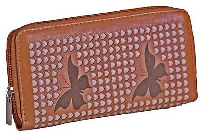 Faux Leder Herz (Damen Faux Leder Schmetterlings Herzen Mappe Kartenhalter)