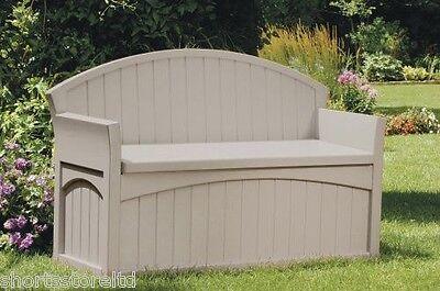 New Suncast Outdoor Patio Bench Deck Box Storage Seat Box Garden Bin Hideaway 50 ()