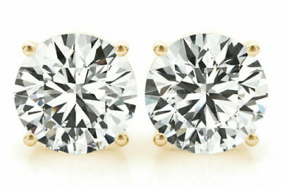 3 carat Round cut Diamond Studs 14k Yellow Gold Earrings GIA certified H SI2