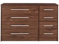 Kendal Walnut Effect Chest of Drawers, 8 Drawer Chest - Brand New Boxed