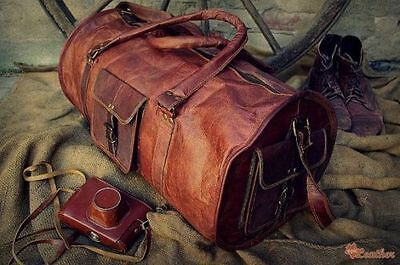 "New Men's duffel genuine Leather large vintage  travel gym Round 24""bag"