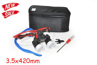 Red Dental Surgical Medical Binocular Loupes 3.5x 420mm Optical Glass Magnifier