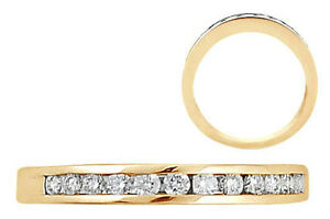 0-12ct-REAL-DIAMONDS-HALF-ETERNITY-WEDDING-RING-9k-SOLID-YELLOW-GOLD-HALLMARKED
