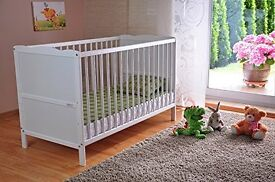 white cot bed / junior bed with mattress