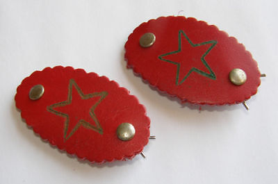 VINTAGE RETRO RED LEATHER BARRETTE HAIR ACCESSORIES STAR 1970s Red's Vintage!! (1970 Jewelry Accessories)