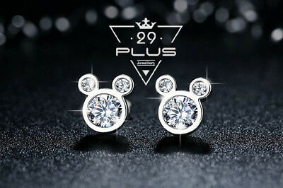 Jewellery - Cute Mickey Mouse 18K White Gold Filled Fashion Crystal Stud Earrings Gift