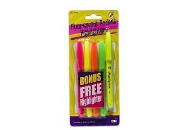 New Charles Leonard Pocket Highlighters Assorted Colors 5-packs High Lighter