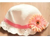 Child Girl's Cream Cloche Hat with Coral Orange Flower.Age 2-3 Years.