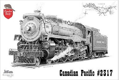 Canadian Pacific Steam Engine - Railroad Art by Scotty Canadian Pacific Steam Engine Pen & Ink