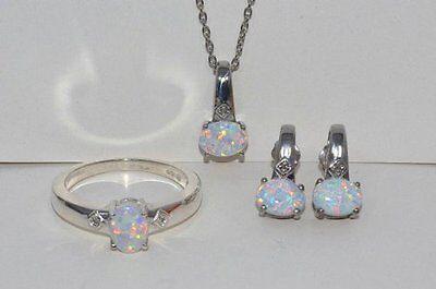 Opal & Diamond Oval Stud Earrings Pendant Ring Set .925 Sterling Silver (Opal Set Ring)