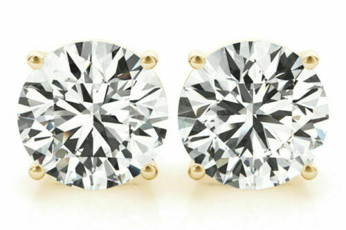 2 carat Round cut GIA Diamond Studs 18k Yellow Gold Earrings K color SI2 clarity