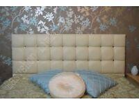 Cream diamante faux leather headboard