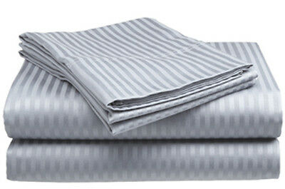 Full Size Silver/Gray 400 Thread Count 100% Cotton Sateen Dobby Stripe Sheet Set Bedding
