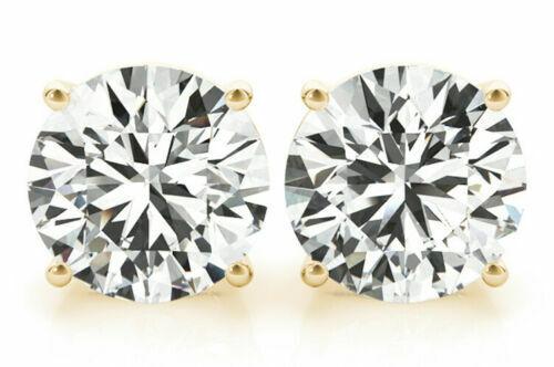 3 carat Round cut Diamond Studs 18k Yellow Gold Earrings GIA certificate H VS
