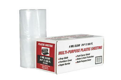 Plastic Sheeting 8ft X 100ft 4 Mil Clear Rolled Poly All Purpose Paint Drop