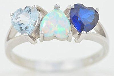2 Ct Blue Sapphire Opal & Aquamarine Heart Ring .925 Sterling Silver -