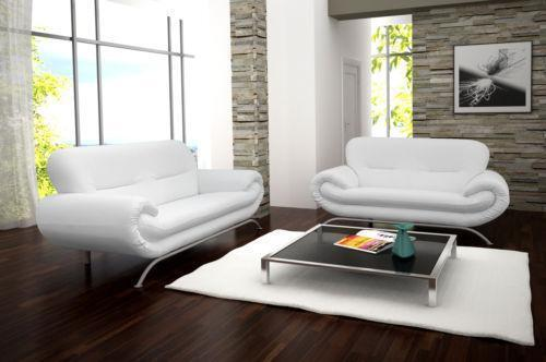 Stunning Brand New Nina 3 2 Seater Sofa Suite In Brilliant White Faux Leather