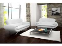 STUNNING BRAND NEW NINA 3+2 SEATER SOFA SUITE IN BRILLIANT WHITE FAUX LEATHER (FREE DELIVERY!!!)