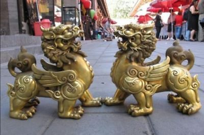 14cm Pure Brass talisman Fengshui Evil Door Fu Foo Dog Lion beast kylin Pair
