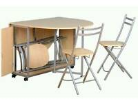 Butterfly drop leaf table with four chairs pine