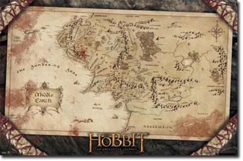 ACTION MOVIE POSTER The Hobbit Movie Poster Map - $4.99