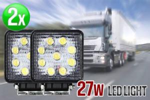 2PCS 27W CREE LED WORK LIGHT OFFROAD FLOOD LAMP TRUCK BOAT BAR