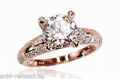 Rotgold Damen-ring 585 mit Zirkon Goldener Ring 18.5 mm Rosegold 585