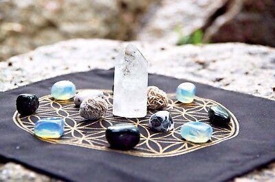 """Sacred Geometry Crystal Grid Cloth Metatron's Cube (Gem Grid) 12"""" x 12"""" Altar"""