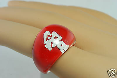 HUGE Oriental RED 3D Clear DOME Unusual COCKTAIL Ring 7